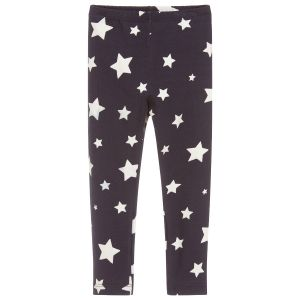 Monnalisa Girls Blue Star Cotton Leggings