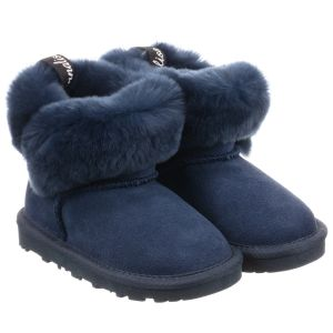 Monnalisa Girls Navy Blue Suede Boots
