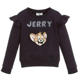 Monnalisa Blue Cotton Jerry Sweatshirt