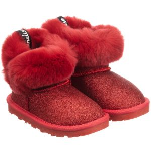Monnalisa Red Glitter Leather Boots