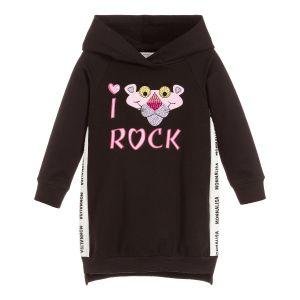 Monnalisa Black Cotton Pink Panther Sweatshirt Dress