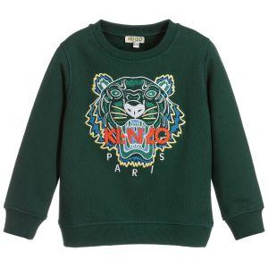Kenzo Kids Dark Green Cotton Iconic Tiger Sweatshirt
