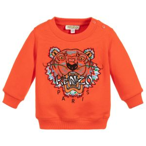 Kenzo Kids Orange Cotton Baby Tiger Sweatshirt
