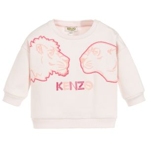 Kenzo Kids Girls Pink Cotton Tiger and Friends Embroidered Sweatshirt