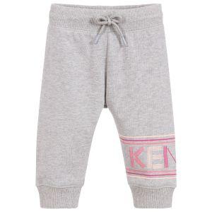 Kenzo Kids Baby Girls Grey Cotton Logo Joggers