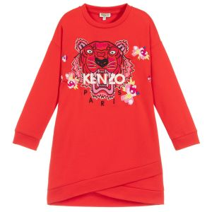 Kenzo Kids Girls Red Iconic Tiger and Flower Dress