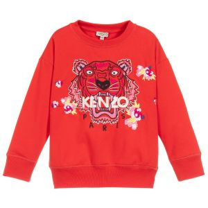 Kenzo Kids Girls Red  Iconic Tiger and Flower Sweatshirt