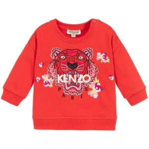 Kenzo Kids Baby Red Cotton Iconic Tiger and Flower Sweatshirt