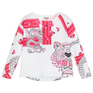 Kenzo Kids Girls White Cotton Long Sleeved Dragon and Tiger Logo Top