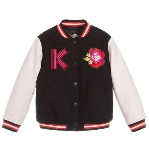 Kenzo Kids Girls Navy Blue Bomber Jacket
