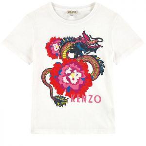 Kenzo Kids Girls White Japanese Flower Cotton Top