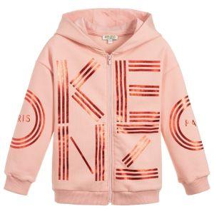 Kenzo Kids Girls Salmon Pink Zip-Up Hooded Top