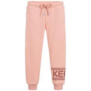 Kenzo Kids Girls Salmon Pink Cotton Logo Joggers