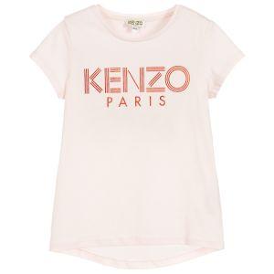 Kenzo Kids Girls Light Pink Cotton Logo T-Shirt
