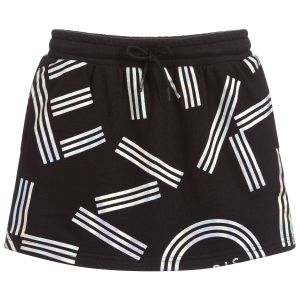 Kenzo Kids Girls Black Jersey Iridescent Logo Skirt