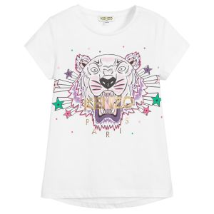 Kenzo Kids White Cotton Iconic Seasonal Tiger T-Shirt