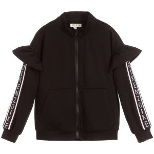 Kenzo Kids Girls Black Logo Zip-Up Top