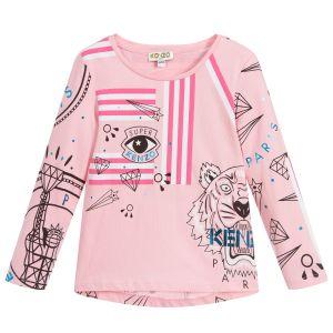 Kenzo Kids Girls Pink Cotton Long Sleeved Logo Top