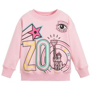 Kenzo Kids Girls Pink Cotton New York Sweatshirt