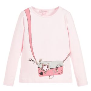 Lili Gaufrette Girls Pink Cotton Jersey Handbag Top