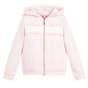 Lili Gaufrette Girls Pink Cotton Zip-Up Frill Top