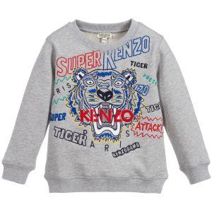 Kenzo Kids Boys Slogan Iconic Grey Tiger Sweatshirt