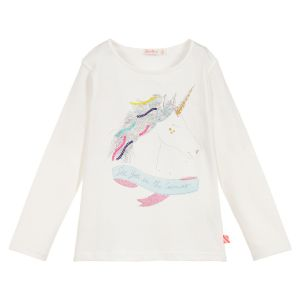 Billieblush Girls White Cotton Unicorn Top