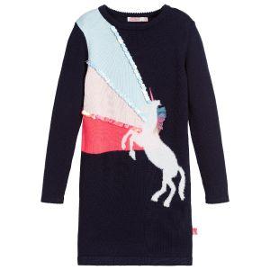 Billieblush Blue Cotton Knit Unicorn Dress