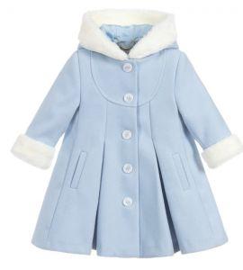 Sarah Louise Girls Blue Faux Fur Trim Coat