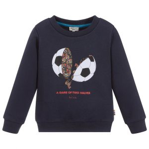 Paul Smith Junior Blue Cotton Football Motif Logo Sweatshirt