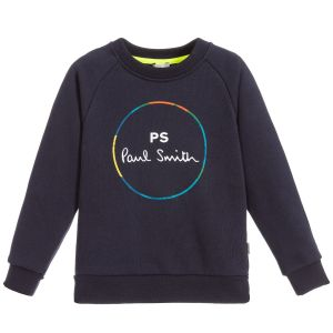 Paul Smith Junior Neon Zebra Boys Blue Cotton Logo Sweatshirt