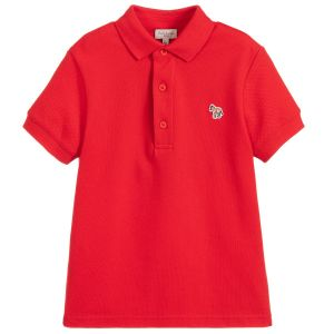 Paul Smith Junior Boys Red Cotton Ridley Per Polo Shirt