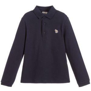 Paul Smith Junior Boys Blue Piqué  Verno Polo Shirt