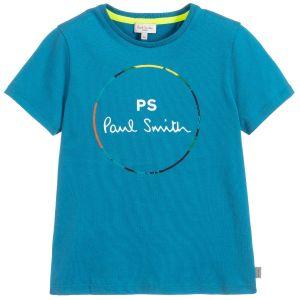 Paul Smith Junior Neon Zebra Boys Teal Cotton T-Shirt