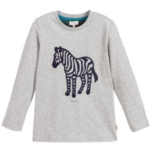 Paul Smith Junior Boys Grey Cotton Zebra Top