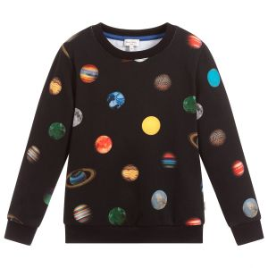 Paul Smith Junior Boys Black Cotton Planet Sweatshirt