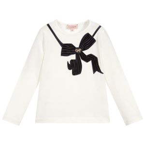 Lili Gaufrette Girls Ivory Cotton Bow Top