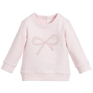 Lili Gaufrette Girls Pink Cotton Bow Sweatshirt