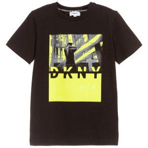 DKNY Boys Black Cotton Neon Yellow and Grey Print T-Shirt