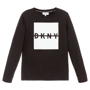 DKNY Boys Black and White Cotton Logo Top
