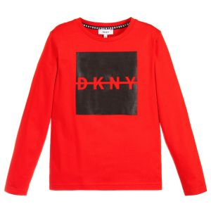 DKNY Boys Red and Black Cotton Logo Top