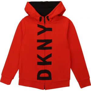 DKNY Boys Red Cotton Zip-Up Top