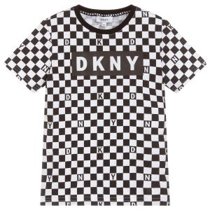 DKNY Boys Black Check Cotton Top