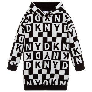 DKNY Girls Grey & Black Jersey Checked Logo Dress