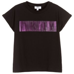 DKNY Black Cotton & Modal Metallic Logo T-Shirt