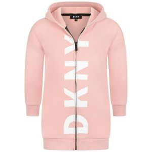 DKNY Girls Pink Cotton Long Hooded Top