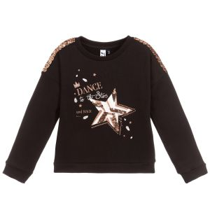 3Pommes Black Cotton Sequin Sweatshirt