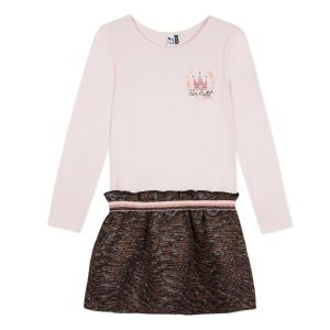 3Pommes Pink Dress With  Jacquard Print Skirt