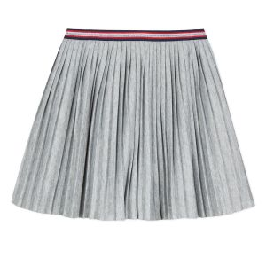 3Pommes Grey Pleated Cotton Skirt