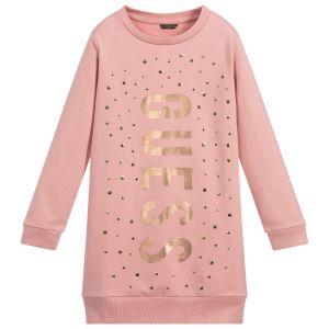 Guess Pink Cotton Sweatshirt Dress